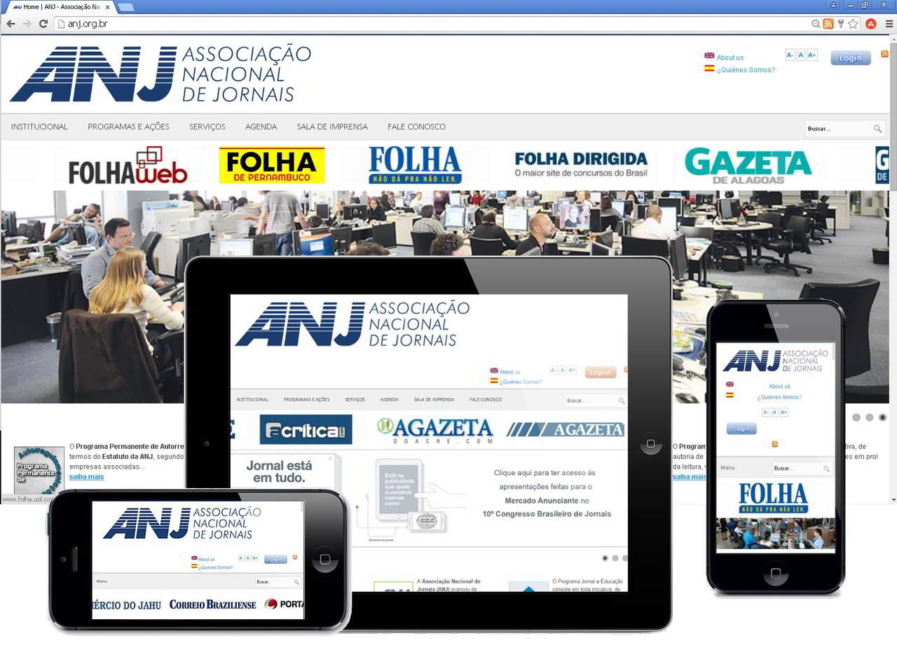 Novo Portal Responsivo ANJ, após o REDESIGN