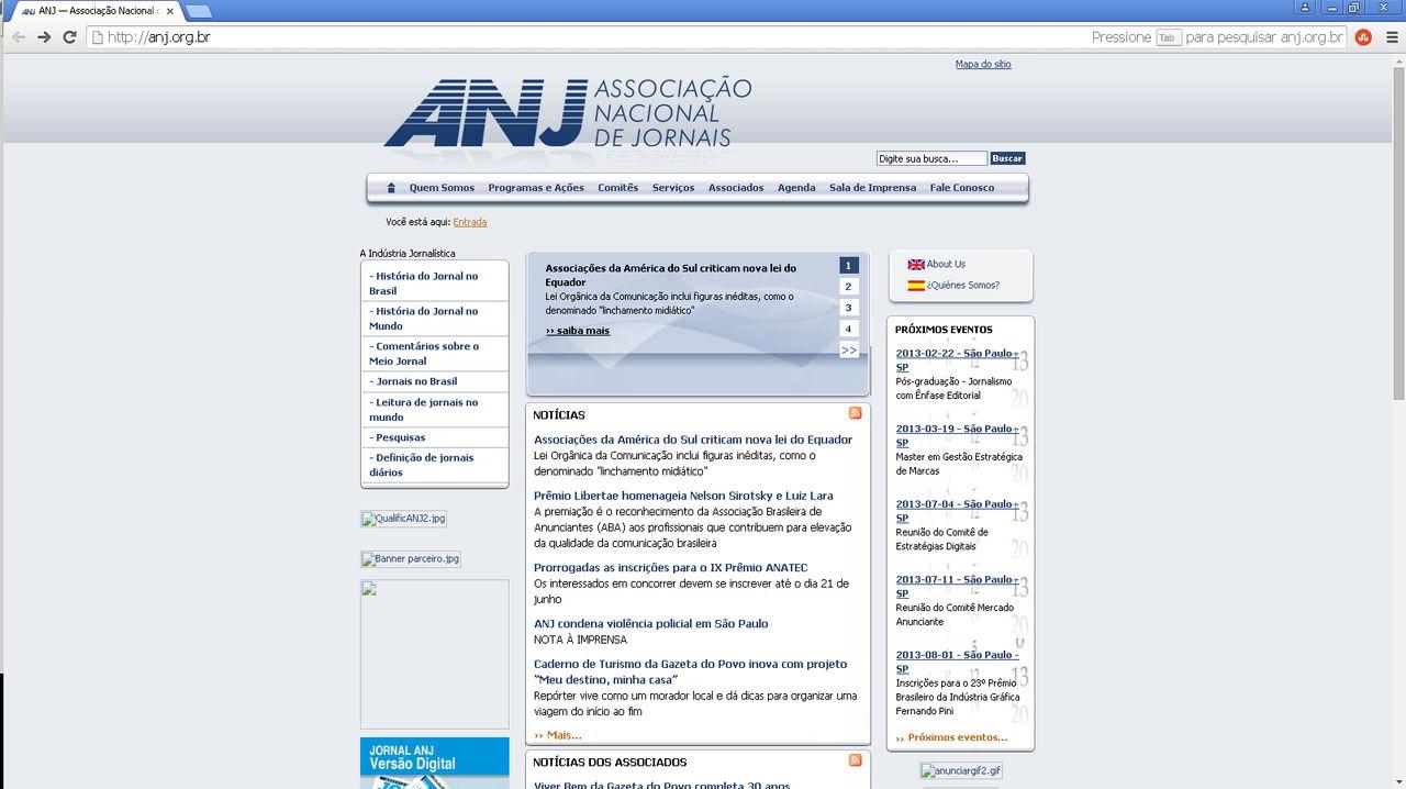 Site antigo da ANJ - Associação Nacional de Jornais