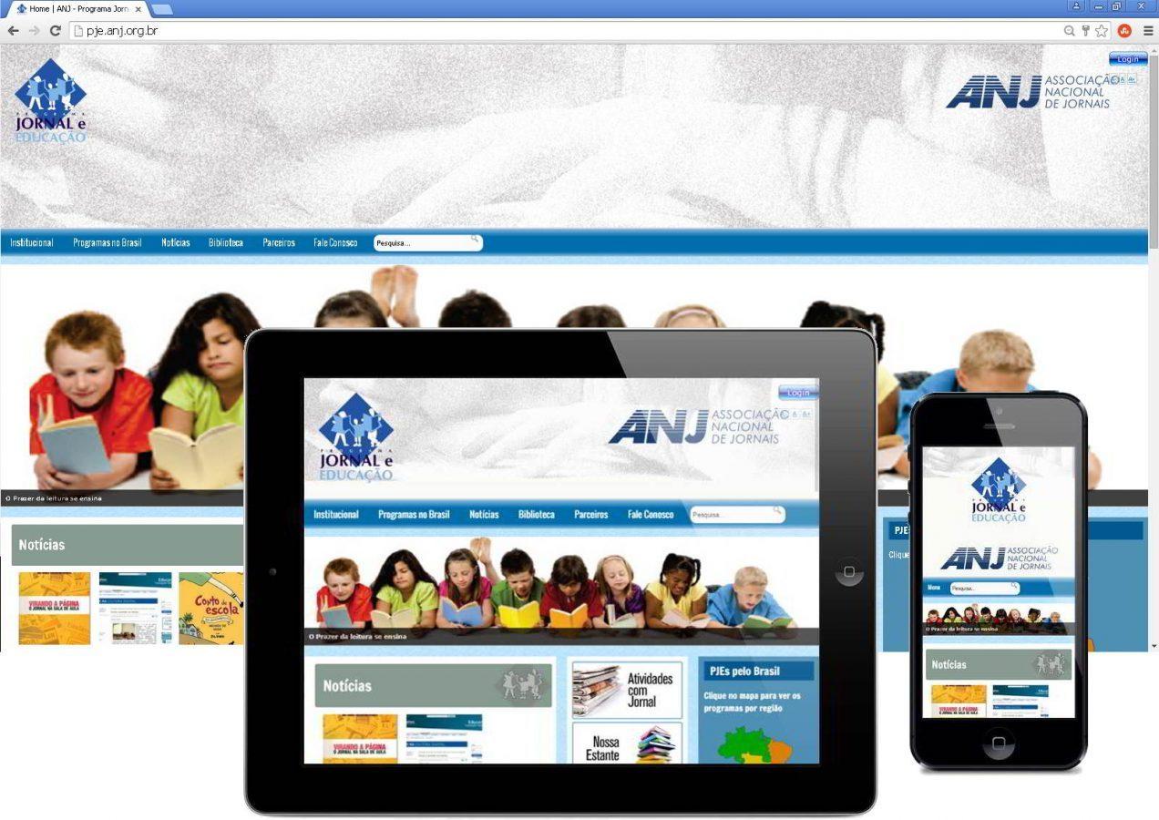 Novo Portal Responsivo PJE- Programa Jornal e Educação, após o REDESIGN