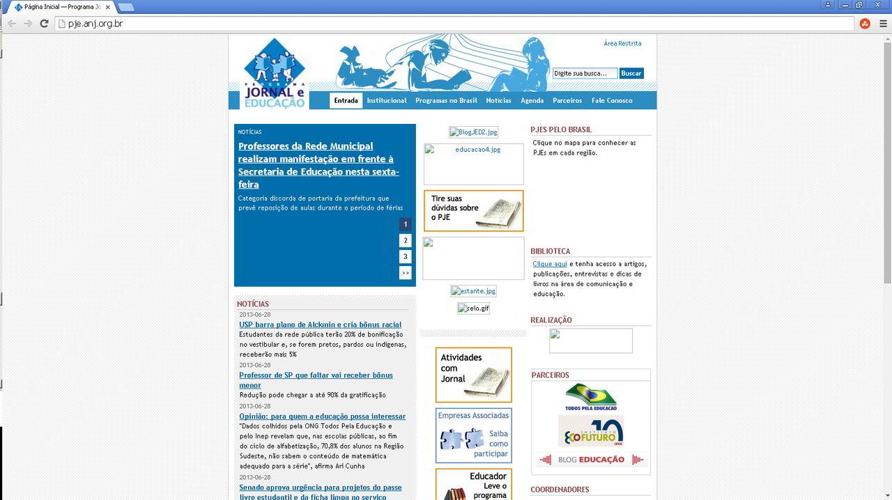 Site Programa Jornal e Educação antigo